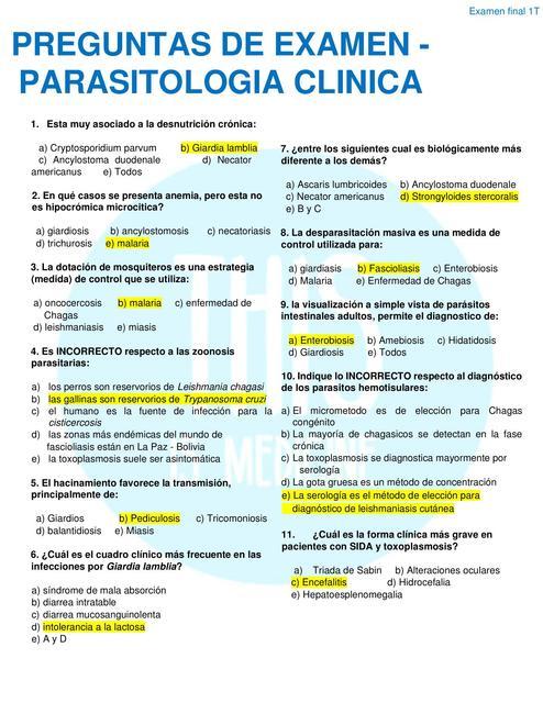 Preguntas Examen De Parasitologia Clinica Resuelto Parasitologia Examen De Parasitologia Udocz