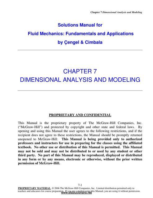 Solucionario Capitulo 7 Mecanica De Fluidos Fundamentos Y Aplicaciones Cegel Mecánica De Fluidos Ingeniería Hidráulica Udocz